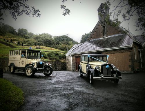 Bonnie and Clyde waiting to transport bride Astrid and bridal party to Holy Trinity Church Llanelli